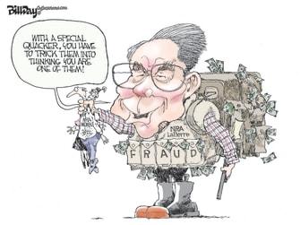 Editorial Cartoon U.S. Wayne LaPierre NRA Corruption Gun Rights
