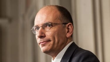 Letta talks to the press on April 24 after being appointed by President Giorgio Napolitano to form a new government.