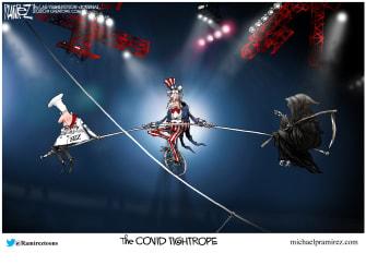 Political Cartoon U.S. COVID balance