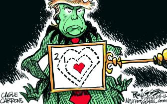 Political Cartoon U.S. Trump Grinch Heart Two Sizes Too Small