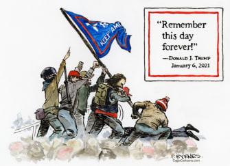 Political Cartoon U.S. trump capitol riot