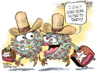 Editorial Cartoon U.S. Texas Mississippi mask mandates covid