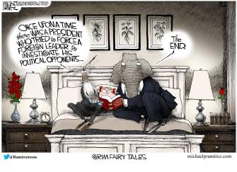 Political Cartoon U.S. Dems and GOP read bedtime story Trump impeachment