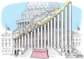 Political Cartoon U.S. Congress vacation COVID