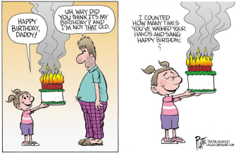 Editorial Cartoon U.S. birthday cake coronavirus quarantine hand washing