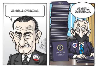 Political Cartoon U.S. LBJ biden executive orders overreach