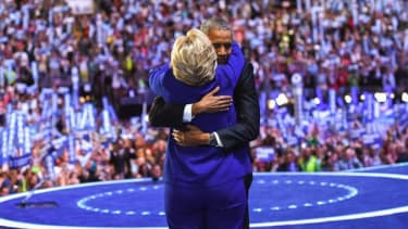 A sweet moment between Hillary Clinton and Barack Obama.