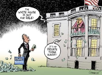 Political Cartoon U.S. Bloomberg buys presidency White House