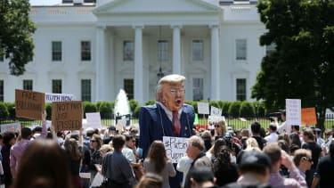 Protestors outside the White House.