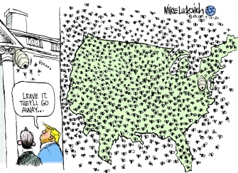 Political Cartoon U.S. Trump coronavirus spread