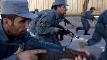 Afghan police recruits undergo training at the Afghan Police Academy: American troops may soon be out, but the U.S. will continue to support Afghanistan for another decade.