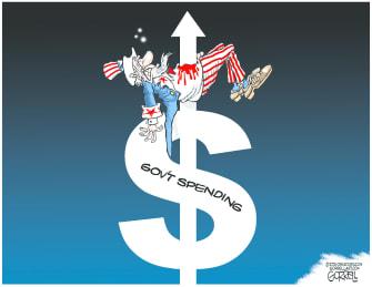 Political Cartoon U.S. government spending debt uncle sam