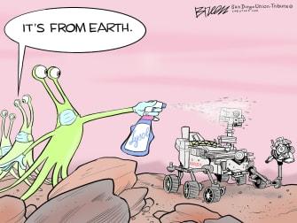 Editorial Cartoon U.S. mars perseverance covid