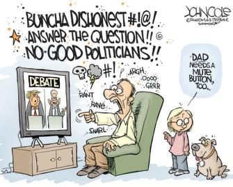 Political Cartoon U.S. Trump Biden debate mute button