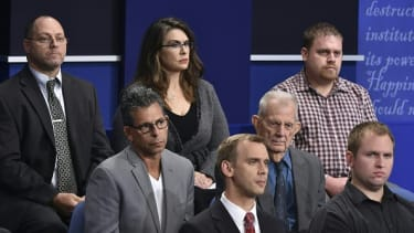 Audience members Sunday night at the presidential debate.