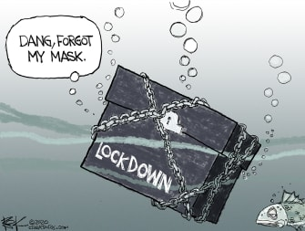 Editorial Cartoon U.S. lockdown masks