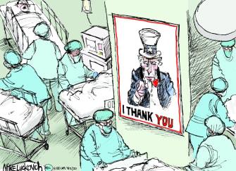 Editorial Cartoon U.S. Uncle Sam I thank you nurses doctors health sector poster