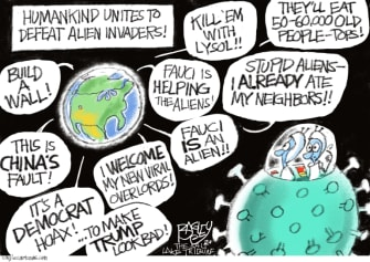 Editorial Cartoon U.S. coronavirus conspiracy theories aliens