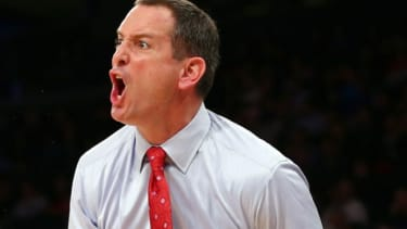 Rutgers' head coach Mike Rice yells his directions court side during a March 12 game.