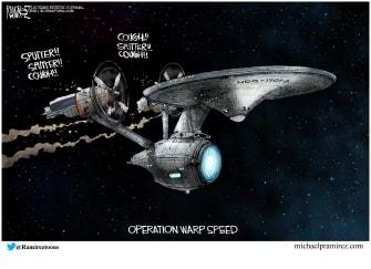 Editorial Cartoon U.S. covid vaccine warp speed star trek