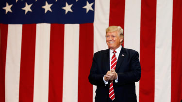 Trump at a campaign-style rally in Phoenix