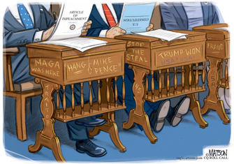Political Cartoon U.S. capitol riot impeachment senate