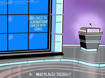 Editorial Cartoon U.S. Alex Trebek Jeopardy RIP