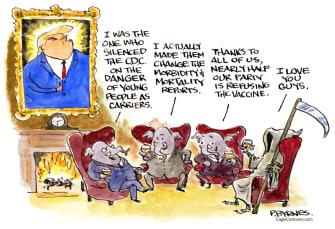 Political Cartoon U.S. gop covid response