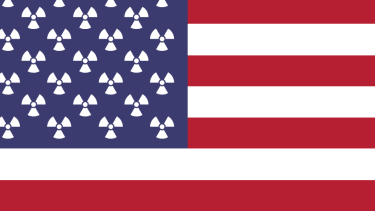 The American flag and nuclear symbols.