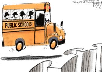 Political Cartoon U.S. Trump school coronavirus