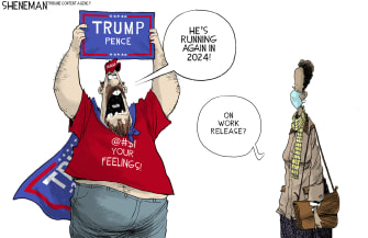 Political Cartoon U.S. Trump supporter 2024