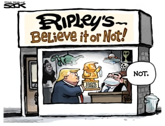 Political Cartoon U.S. Trump COVID cured