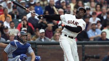 San Francisco Giants' slugger Barry Bonds hitting a home run in 2001.