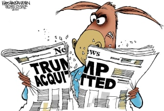 Political Cartoon U.S. Trump Senate Democrats impeachment vote acquittal angry