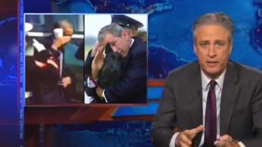 Jon Stewart hammers Fox News' 'false patriotism' after Obama 'latte salute' freakout