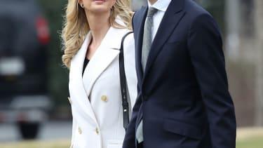 Ivanka Trump and husband Jared Kushner leave the White House.