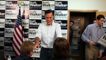 Mitt Romney campaigns for Gov. Scott Walker in Wisconsin
