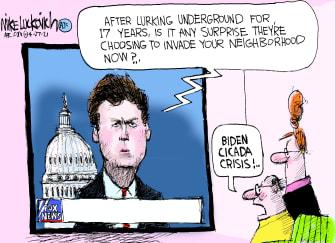Political Cartoon U.S. fox news tucker carlson biden