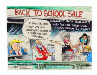 Political Cartoon U.S. Trump coronavirus school reopenings