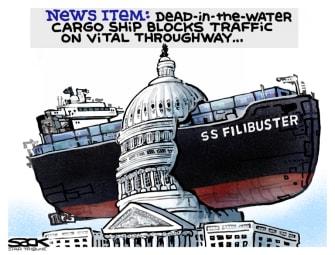 Political Cartoon U.S. suez shipsenate filibuster