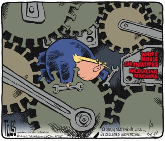 Political Cartoon U.S. White House communication inconsistent coronavirus Trump struggles