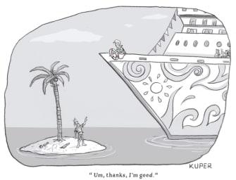 Editorial Cartoon World cruise ship desert island coronavirus