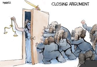 Political Cartoon U.S. GOP Trump impeachment closing argument Lady Justice