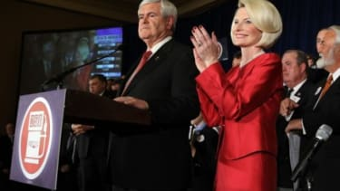Newt Gingrich celebrates his homestate win in Georgia Tuesday night.
