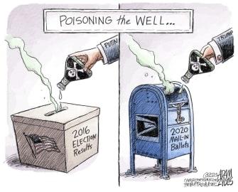 Political Cartoon U.S. Trump 2020 election mail in vote