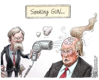 Political Cartoon U.S. toupee Trump Bolton smoking gun