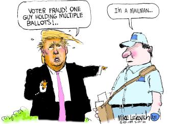 Political Cartoon U.S. Trump vote by mail fraud USPS