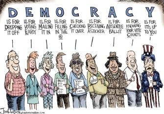 Editorial Cartoon U.S. voting 2020 democracy