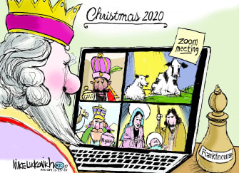 Editorial Cartoon U.S. Zoom COVID Christmas three wise men
