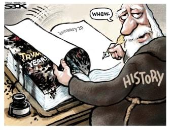Political Cartoon U.S. Trump Biden